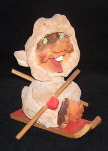 Vintage Carved 4 Henning Figurine Norway Gnome Troll One Tooth Red Skis Sled