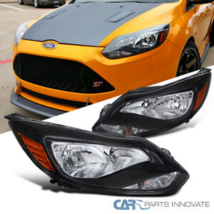 12 14 Ford Focus Black Clear Factory Style Replacement Headlights Head Lamps