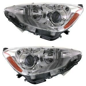 Headlight Set For 2012 2013 2014 Toyota Prius C Left And Right With Bulb 2pc