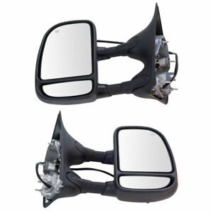 Towing Mirror Power Heated Turn Signal Pair Set For Ford Super Duty Pickup New