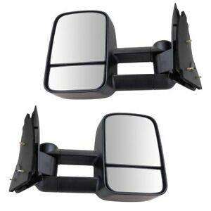 Towing Mirror Manual Textured Black Pair For Ford F150 F250ld Pickup Truck New