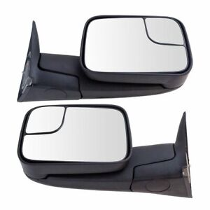 Towing Mirror Manual Textured Black Pair Set For Dodge Ram Pickup New
