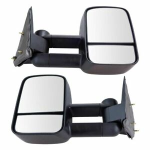 Towing Mirror Manual Textured Black Pair Set For Chevy Gmc Pickup Truck Suv