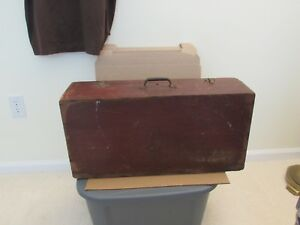 Vintage Wooden Suitcase Work Case 12 X 24 X 7