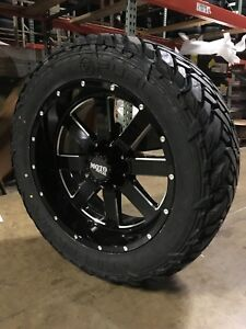 22x10 Moto Metal Mo962 Black Wheel And Tire Package 35 Fuel Mt 6x135 Ford F150