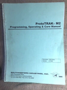 Swi Proto Trak M2 Operating Programming Manual For Cnc Milling Machine