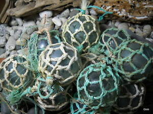 Netted Vintage Japanese Glass Fishing Floats Alaska Beachcomb