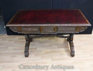 Antique Padouk Wood Desk Carved Writing Table Anglo Indian