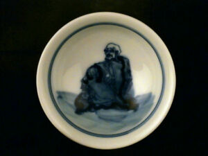 Beautiful Chinese Ming Dy Blue White Porcelain Arhat Little Bowl X092