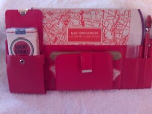 Vintage Hollywood Accessories Red Visor Caddy Organizer Cigarettes Pencil Coins