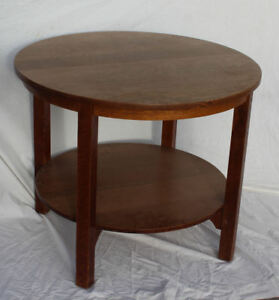 Antique Gustav Stickley Round Oak Center Table Arts Crafts Mission Furniture