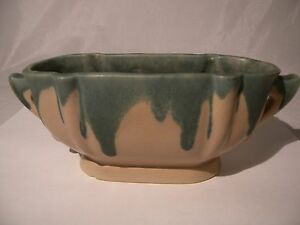 Antique 1910 15 Roseville Carnelian 1 Bowl with Handles Green Drip Matte Glaze