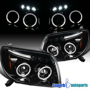 For 2003 2005 Toyota 4runner Halo Led Polished Black Projector Headlights Lamps