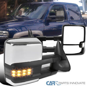 For 99 02 Silverado Sierra Power Heated Extended Smoke Led Signal Towing Mirrors