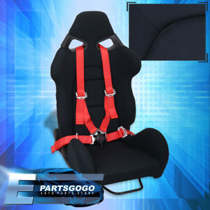 Universal Black Cloth Racing Bucket Comfort Seat 4 Point Camlock Red Seatbelt