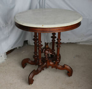 Antique Victorian Walnut Marble Top Parlor Small Oval Table