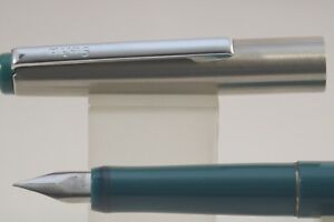 Vintage Geha Steno Cartridge Fountain Pen Teal Blue With Chrome Trim Mint
