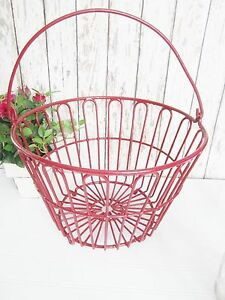 Antique Red Wire Egg Basket Right From The Farm House