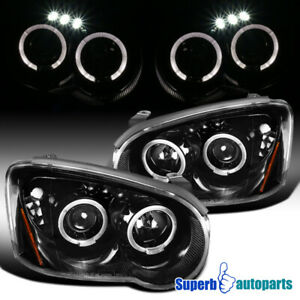 For 2004 2005 Subaru Impreza Wrx Polished Black Led Halo Projector Headlights