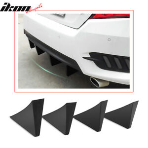 Universal Rear Bumper Lip Diffuser Shark Fins Black 4pc Set Abs