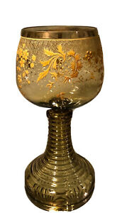 Antique Moser Art Glass Chalice W Enamel Decoration