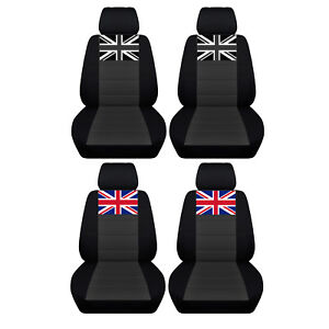 Fits 2005 To 2018 Mini Cooper Black And Charcoal Seat Covers With A Union Jack