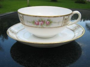 Nippon China Cup And Saucer White Gold Rose Design Japan Hand Painted