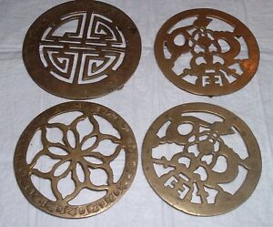 4 Antique Vintage Brass Teapot Stand Trivet Plant Floral Engaved Footed Old