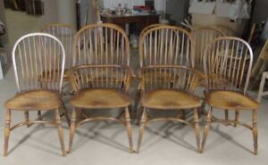 Windsor Dining Chairs Set 8 Oak Kitchen Diners