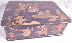 Antique Japanese Hand Painted Black Lacquer Jewelry Box Many Characters