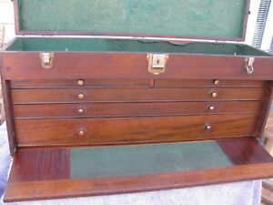 Rare Gerstner Usa Walnut Pattern Makers Machinist Wood Tool Chest Box