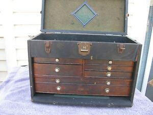 Gerstner Leatherette Oak Drawer Machinist Tool Chest Box
