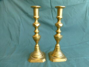 Pair Of Antique Early American Brass Push Up Candlesticks