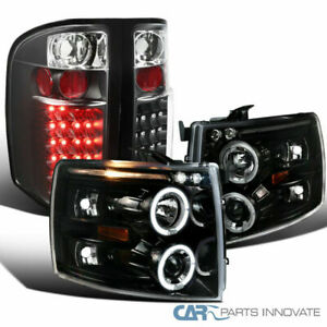 Chevy 07 14 Silverado Pearl Black Halo Projector Headlights black Led Tail Lamps