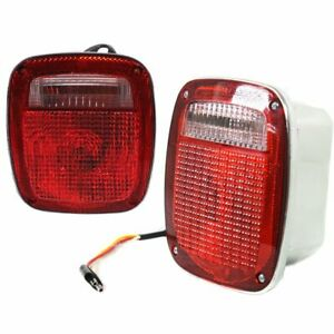 Halogen Tail Light Set For 1976 1980 Jeep Cj5 Red chrome Interior W Bulbs 2pcs