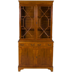 Antique Style Yew Wood Breakfront Two Door Bookcase Bookshelf Display Cabinet