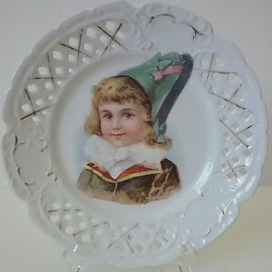 Child S Portrait Cabinet Plate French Hat Lattice Reticulated Plate C 1880 S