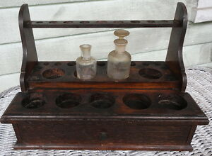 Doctors Chemist Antique Apothecary Test Tube Stand Drawer Solid Oak W Bottles