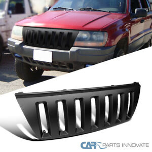 99 04 Jeep Grand Cherokee Matte Black Abs H2 Vertical Front Hood Grill Grille