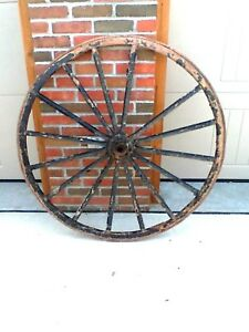 Antique Vintage Primitive Buggy Wagon Wheel Wood Spokes Iron Rim Amish Carriage