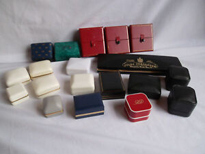 Assorted Vintage Leather Presentation Display Jewelry Ring Box Lot