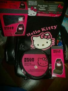 5 Piece Hello Kitty Car Set 2 Seat Covers Floor Mats 1 Steering Wheel Pink Truck