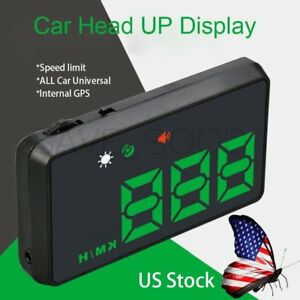 Universal Gps Hud Digital Head Up Display Car Speed Alarm Plug Play Navigation