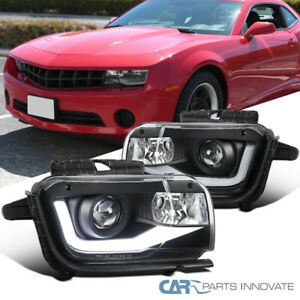 10 13 Chevy Camaro Led Drl Bar Black Projector Headlights Head Lamps Left Right