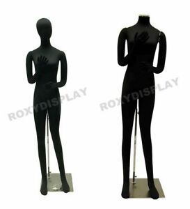 Female Full Body Poseable Mannequin Form Black With Flexible Parts jf f02softx