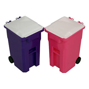 Mini Curbside Trash And Recycle Can Set Desk Pencil Cup Holder Pink purple