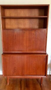 Mid Century Danish Modern Desk Book Case Hutch Cabinet Shelf Vintage Teak Doors