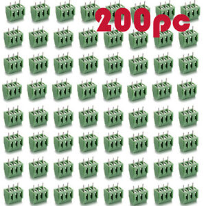 200pcs Green Pcb Terminal Block Screw Connector 3 5mm Pitch 3 Pins