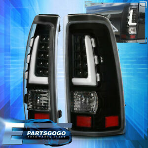 Black Full Led White Tube Tail Light Lamps For 99 06 Chevy Silverado Gmc Sierra