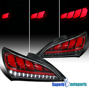 For 2010 2016 Hyundai Genesis Coupe Shiny Black Sequential Led Tail Lights Pair